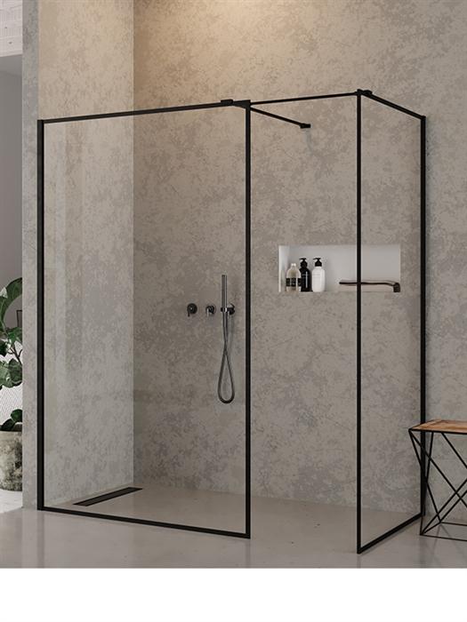 Kabina łazienkowa z czarnym profilem